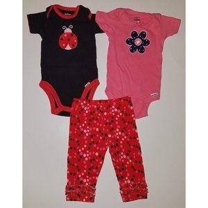 Gerber Baby Girl Outfit Lot 2 Onesies 1 Pants 0-3m